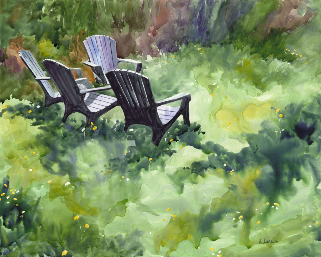 """Kathleen Lanzoni fine watercolor artist, Tranquil 28"""" x 22"""" watercolor - giclee available"""