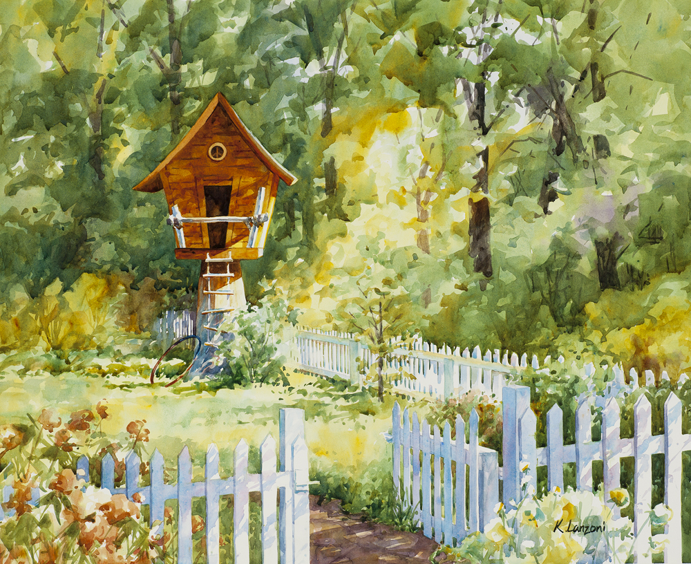 """Kathleen Lanzoni watercolor fine artist, Treehouse 20"""" x 16"""" original watercolor - giclee available"""