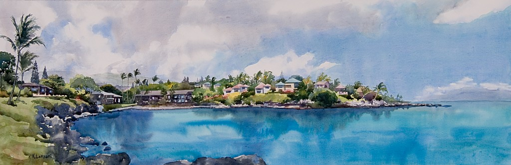 """Kathleen Lanzoni fine watercolor artist, Turtle Cove 19.5"""" x 13.5"""" original watercolor - giclee available"""