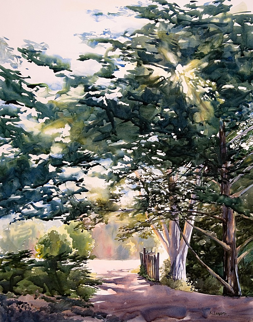 """Kathleen Lanzoni watercolor fine artist, Up Ahead 21"""" x 26"""" watercolor - giclee available"""