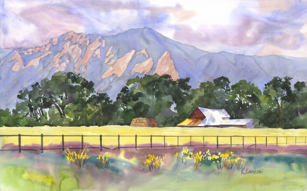 """Kathleen Lanzoni fine watercolor artist, View of Flatirons 19"""" x 12"""" watercolor - giclee available"""
