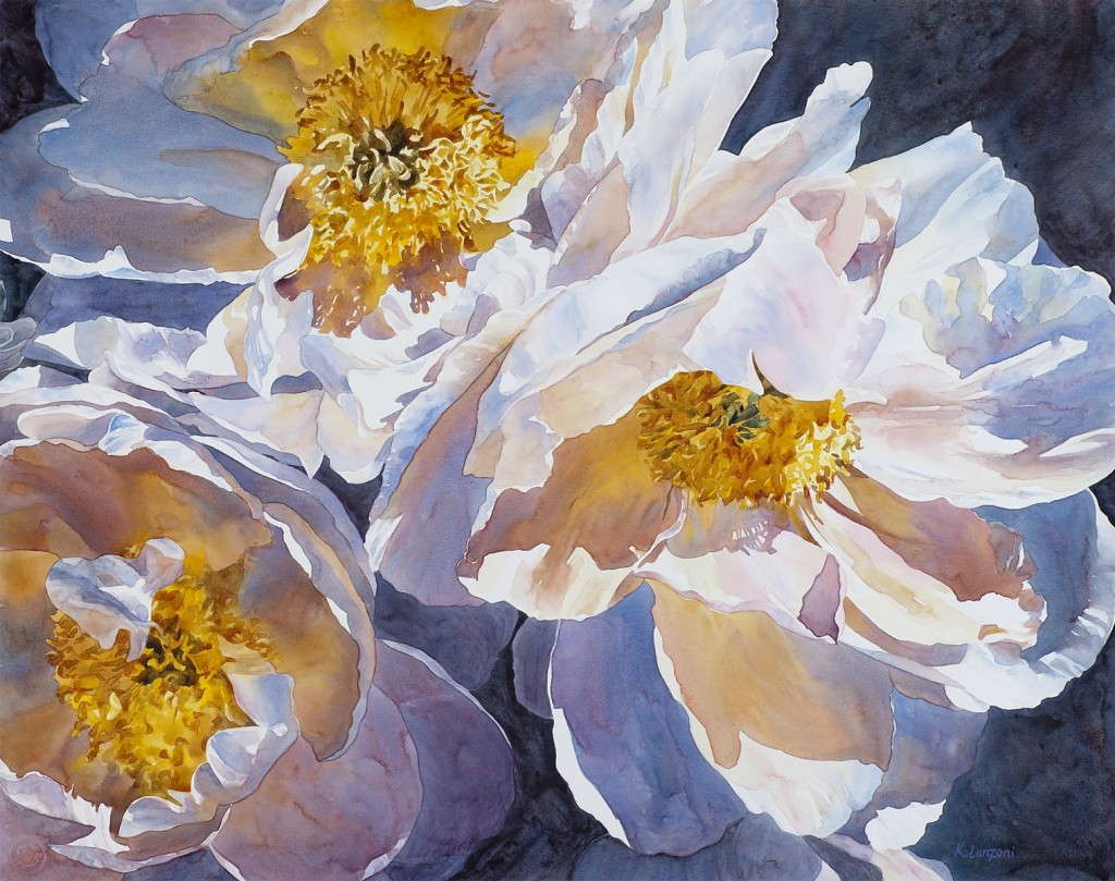 """White Blossoms 29"""" x 23"""" watercolor - giclee available"""