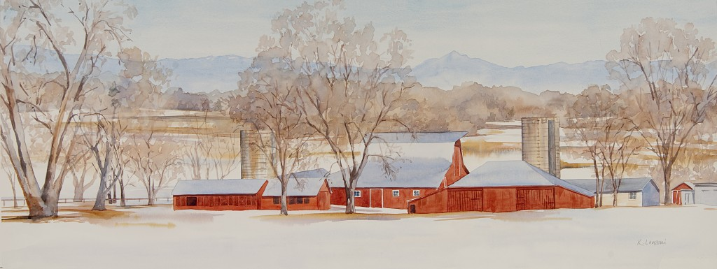 """KathleenLanzoni watercolor fine artist, Winter Red 28"""" x 10.5"""" watercolor - giclee available"""