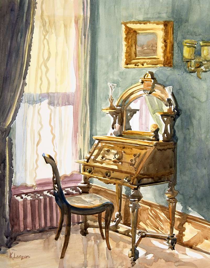 """Writing Desk 13.5"""" X 10.5"""" watercolor - giclee available"""