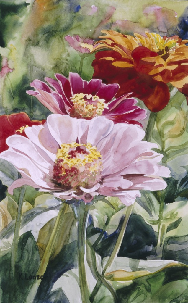 """Zinnias 12"""" x 18"""" watercolor - giclee available"""
