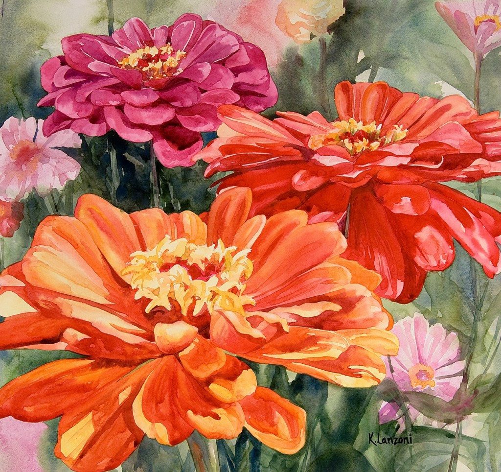"""Zinnias with Colors 17"""" x 16"""" watercolor - giclee available"""